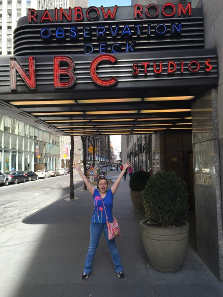 Here's Annie under the NBC sign! NBC is home to many of her favorite shows - Friends, SNL, and 30 Rock!