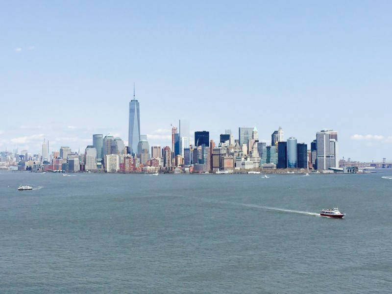 The NYC skyline as seen from the Statue of Liberty ferry