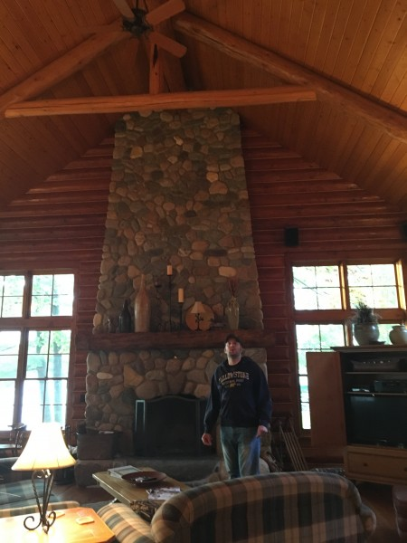 Paul checking out the huge vaulted ceilings inside our cabin