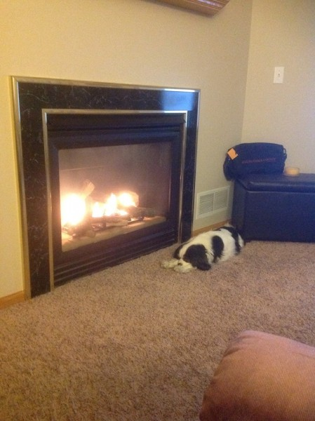 Getting cozy by the fire in our old townhouse