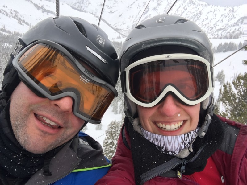We love skiing together.
