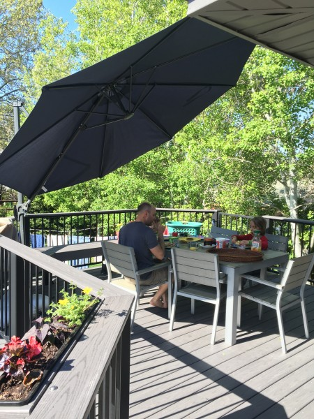Our backyard deck is so relaxing.