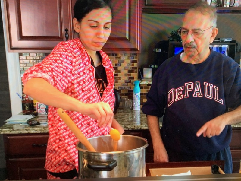 Nazli's sister with father, cooking together