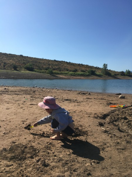 Digging at East Canyon Reservoir