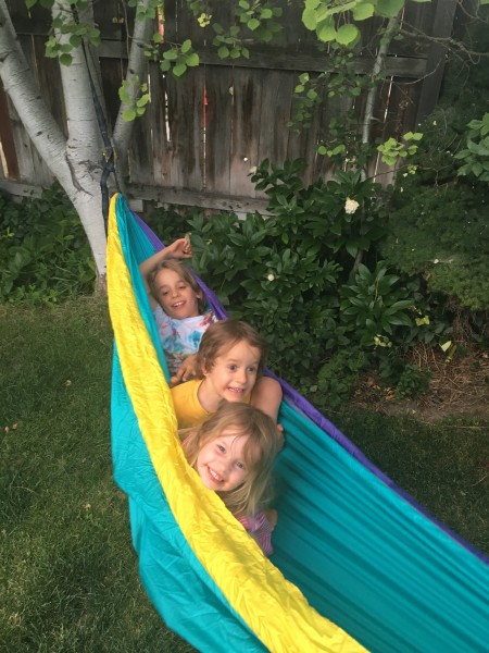 Enjoying our backyard with friends.