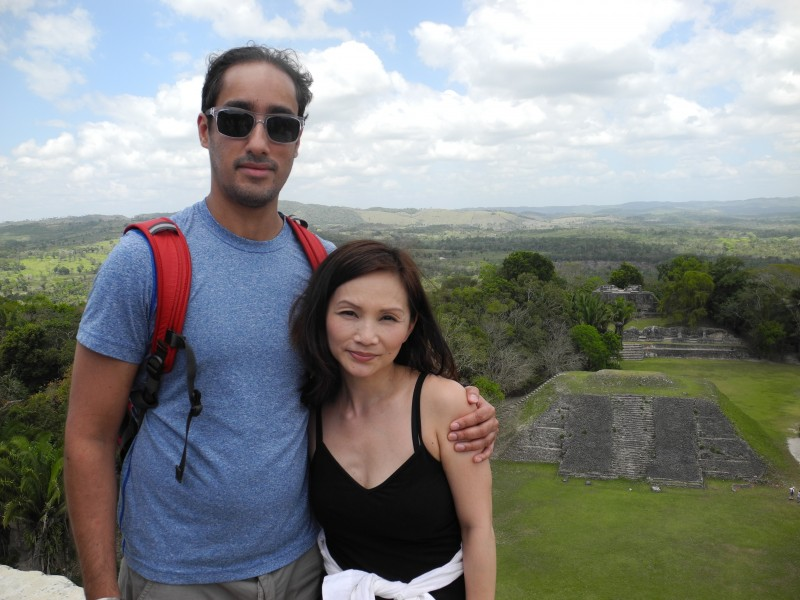 Annie and Neel at our first Mayan Ruins in Belize