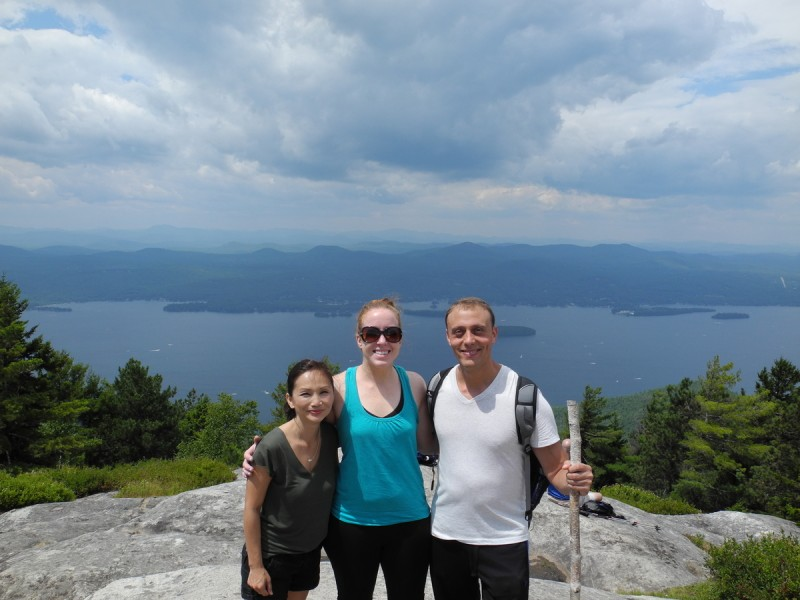 Annie with Hal and Andi hiking at Lake George