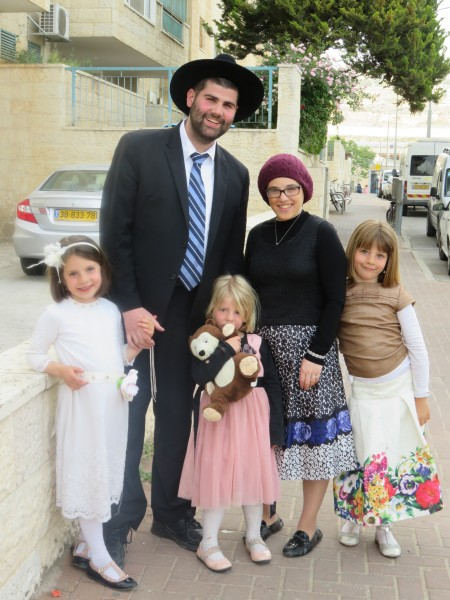 With the nieces, L-R Zahava, Tirtza, and Bracha Raizel Gordon