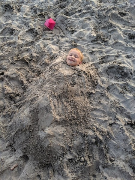 Buried in the sand!