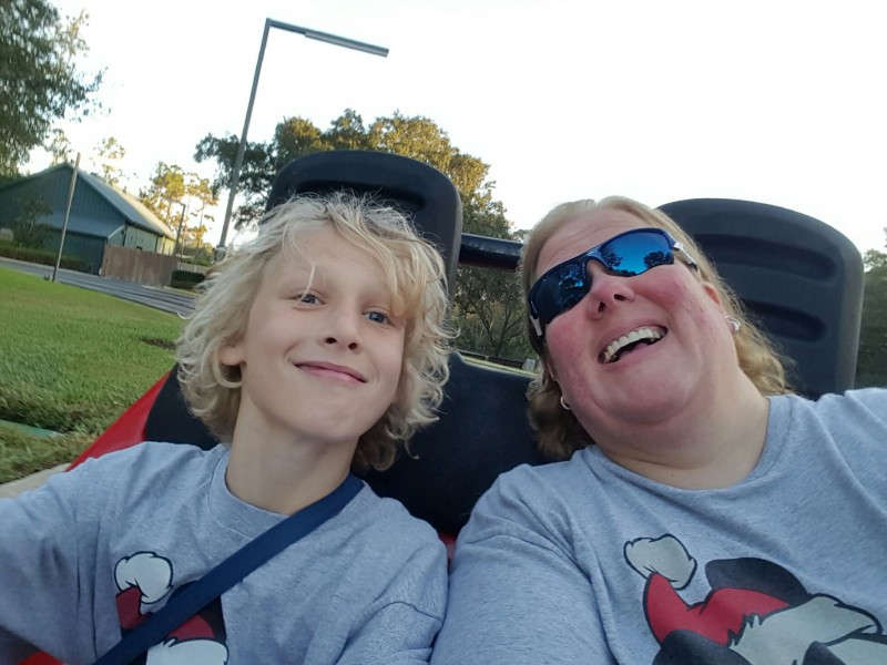 Corinne's Nephew on Tomorrowland Speedway in Magic Kingdom!!