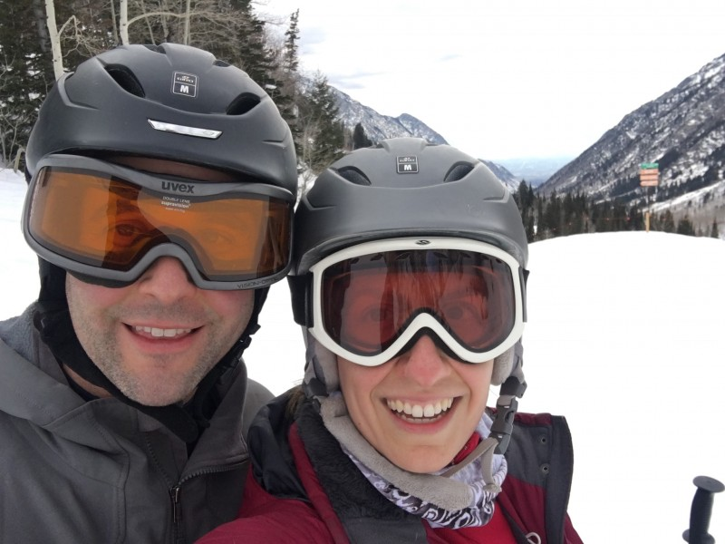 We go on a skiing date once a year.