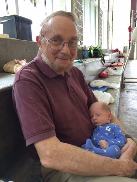 Grandpa, baby whisperer
