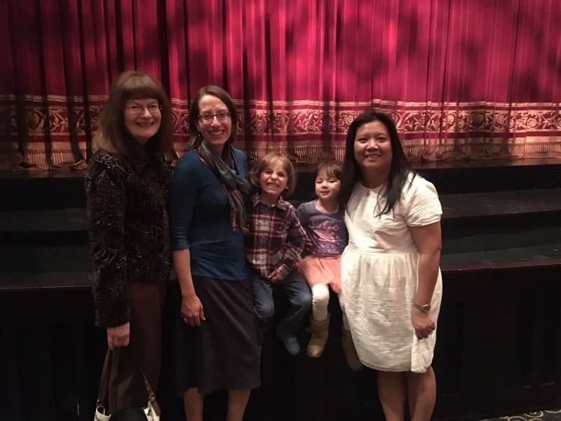 At the ballet with grandma, cousin, and aunt
