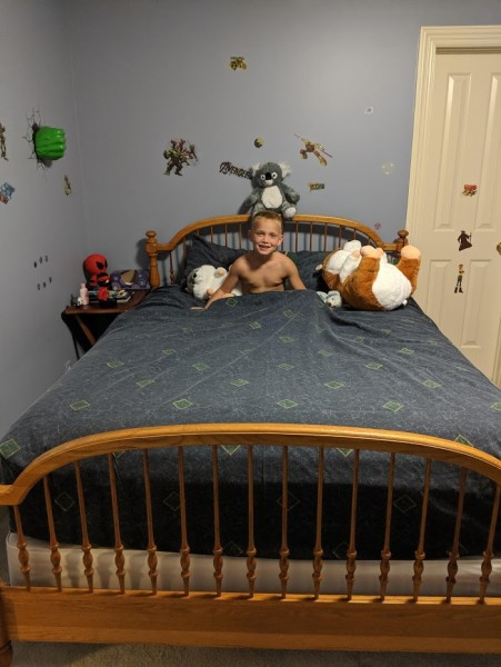 Alex got mommy and daddys old bed