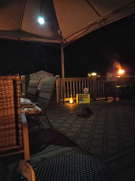 Our deck set up for relaxing summer nights