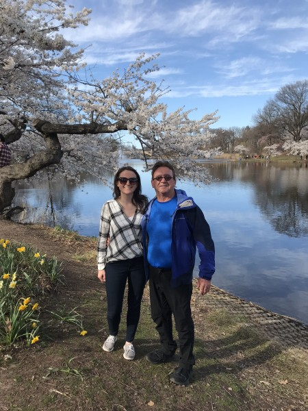 Visiting cherry blossoms with Andrea's dad
