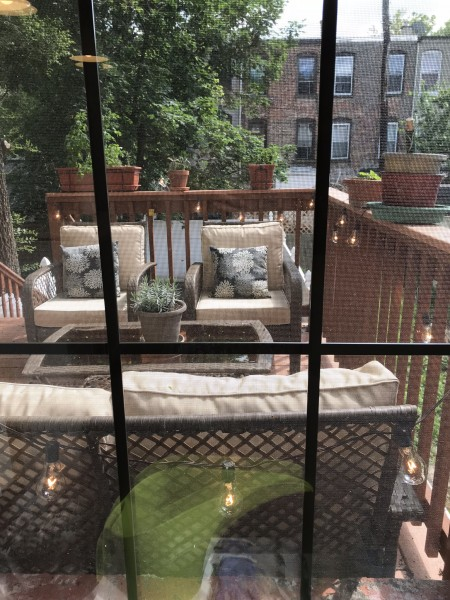A view of our deck from our kitchen