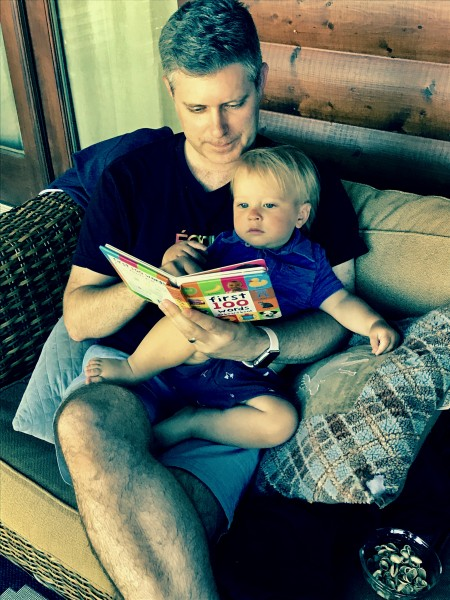 Chad and Kingston reading stories.