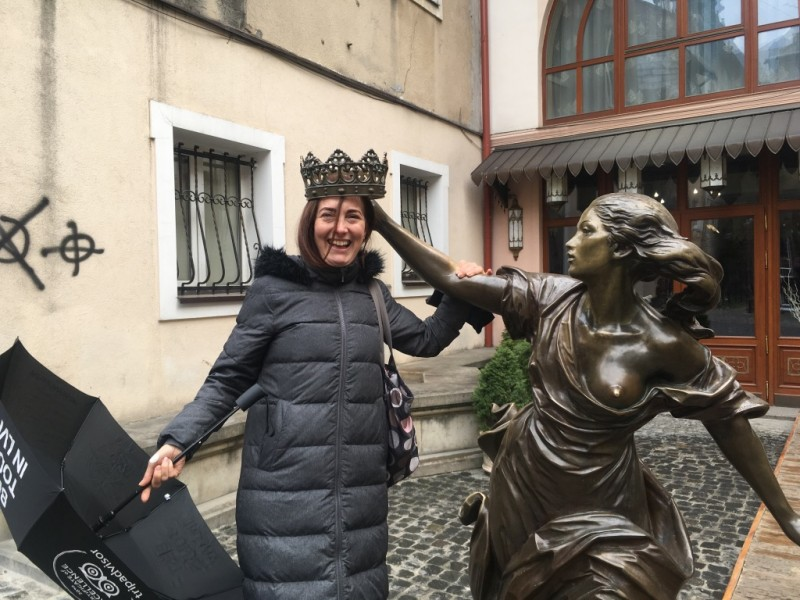 Crowned by a Princess Statue in Lviv, Ukraine