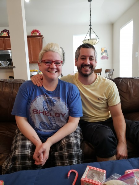 Joe and his sister Jeni - christmas morning 2018