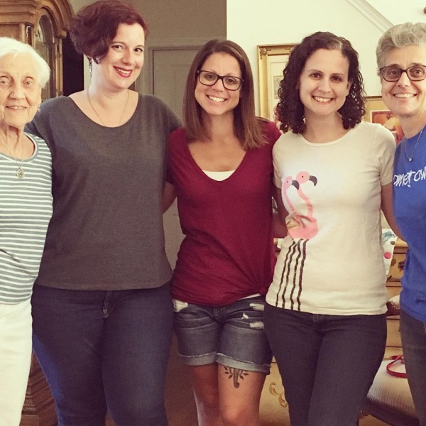 Amanda with her sisters, mom, and Grandma. Three generations!