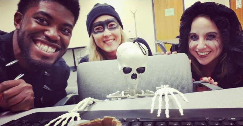 Hanging out with some work crew during our Halloween party!