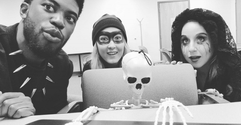 We were very interested in what skeleton was working on in class. :) Halloween 2019.
