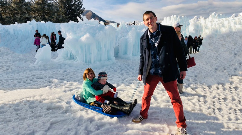 Ice castle sledding...