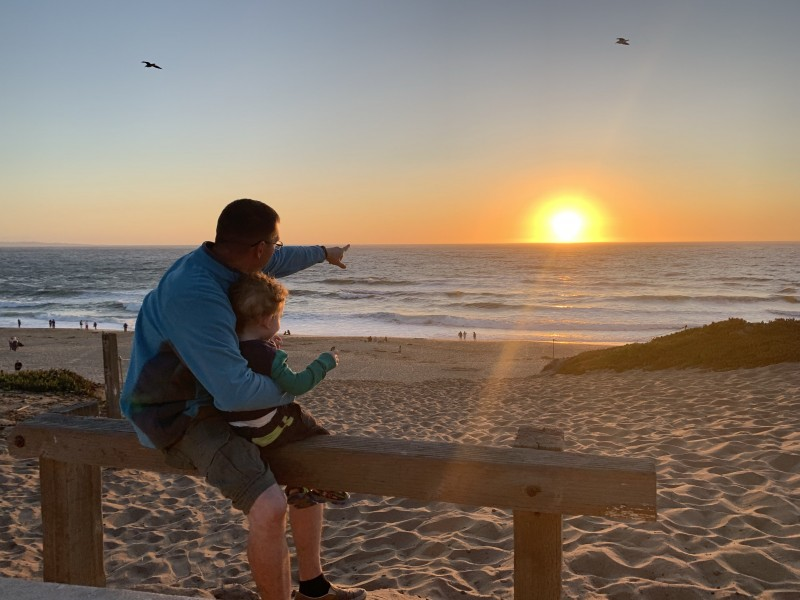 Abraham grew up as a California boy. Now he's introducing the California sun to his son.