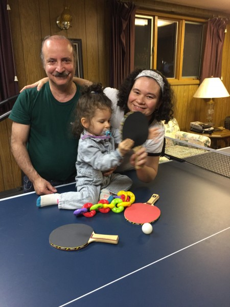 We love Ping Pong! Fletcher's mom has a ping pong table and the whole family play together.