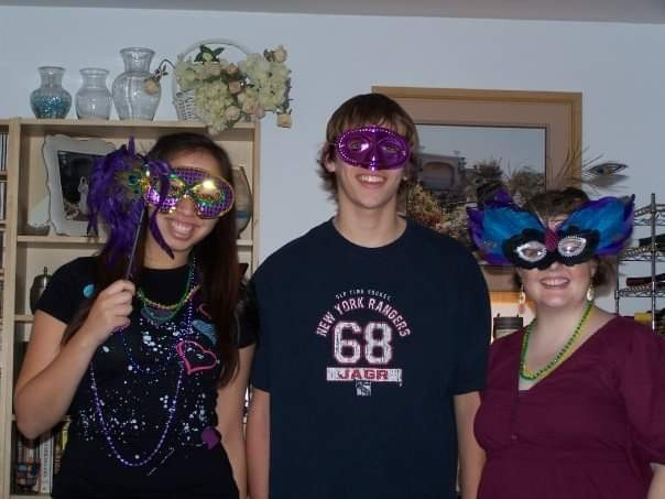 Cousins Lauren and Nick with Amy at our Mardi Gras party