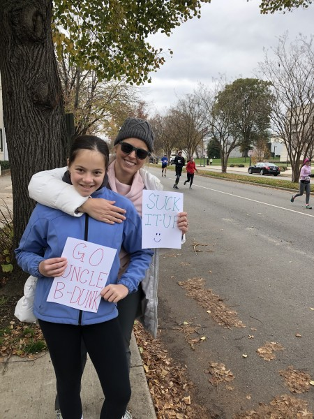 We made signs to cheer on the runner and Uncle B