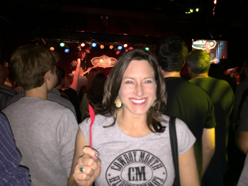 I love hearing live music!  This is at a concert of one of my favorite bands!  If you know why I am holding a red spoon, email me!