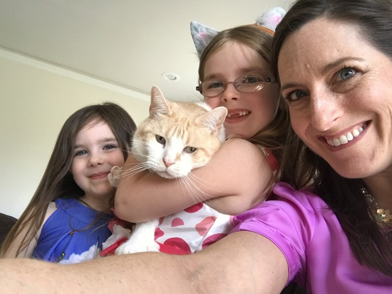 WIth my nieces and their kitty!