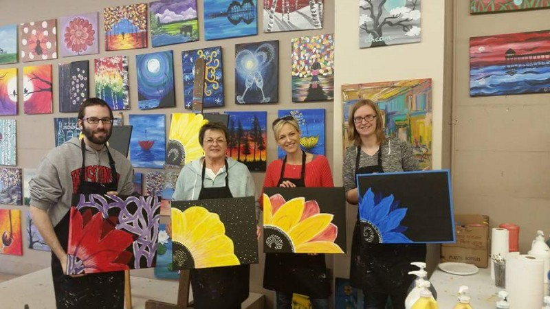 Birthday party painting class with Craig's sister and mom.