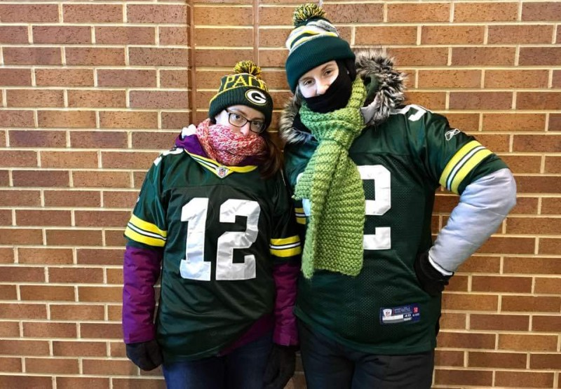 Maria and our sister in law braving the cold at Lambeau Field! Go Pack Go!