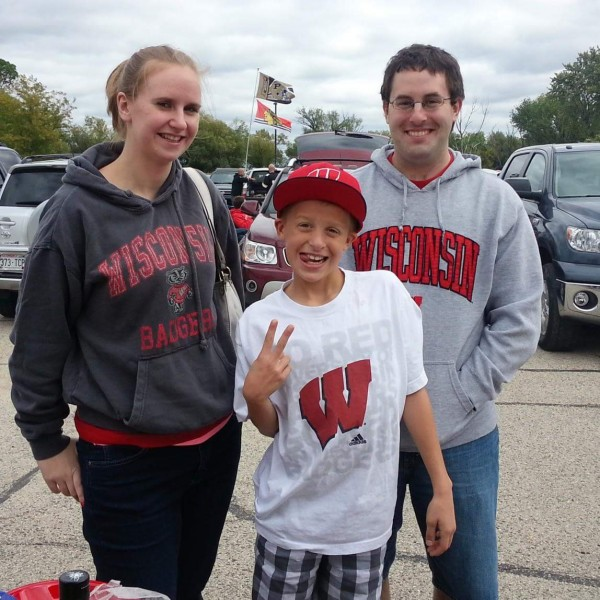 With our nephew before the Badgers football game