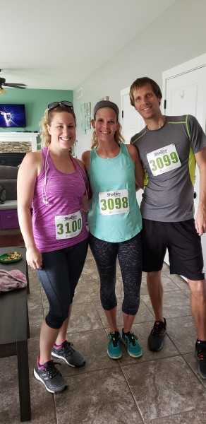 5K with our friend while her husband watched the kids and they all cheered us on
