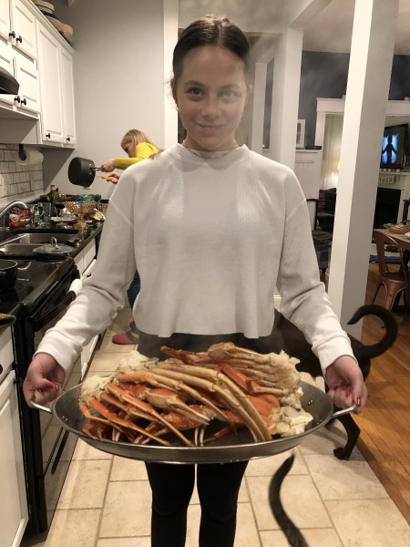 Kam with all the snow crab legs, fresh and steamy!