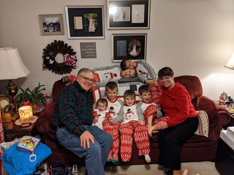 Matching jammies from Grandma and Grandpa