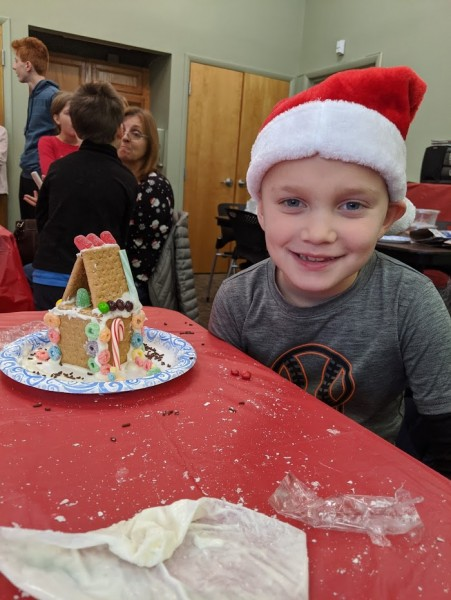 Gingerbread house at library