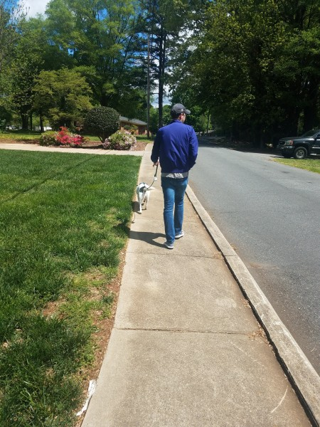 Zach walking Andy.