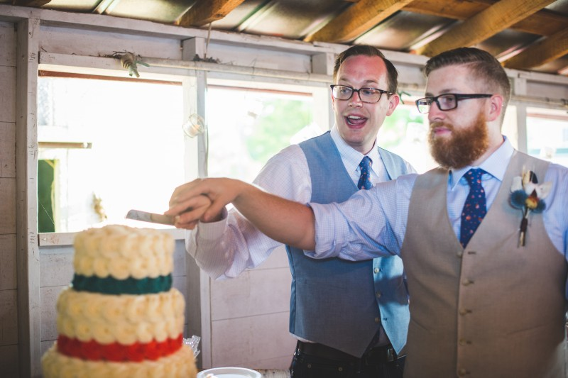 Tim and Zach cut their wedding cake.