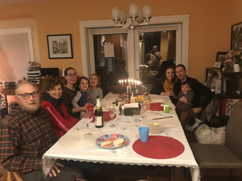 celebrating Hannukah with friends and family