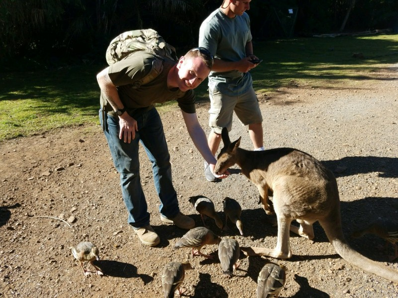 Devon with a kangaroo in Australia