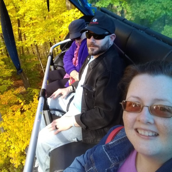 Ski lift ride in Vermont with Henrys Mom