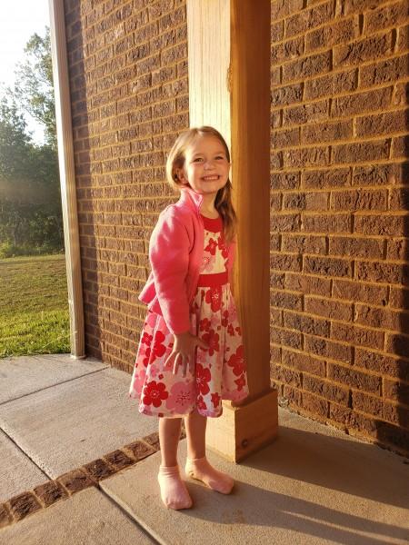 Julianne's first day of regular preschool.