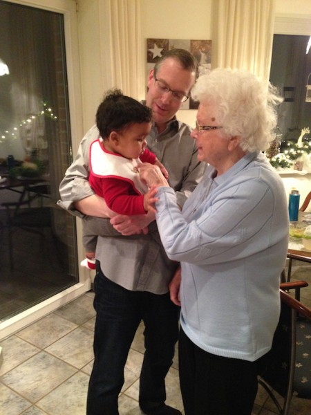 Great Grandma Ruth meeting baby Ari for the 1st time
