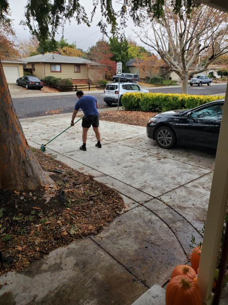 Alain doing some yard work