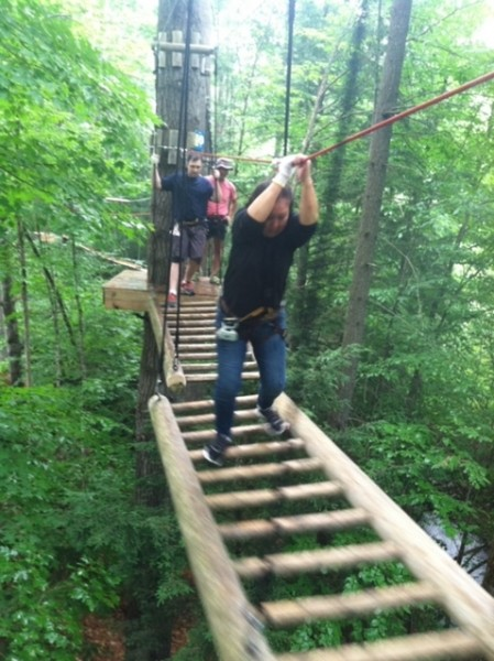Zipling with Daisy's parents